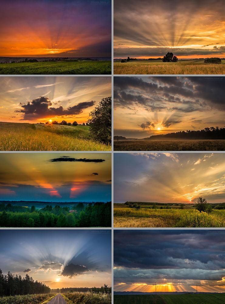 Fot. Witold Ochał, promieniste wschody i zachody słońca