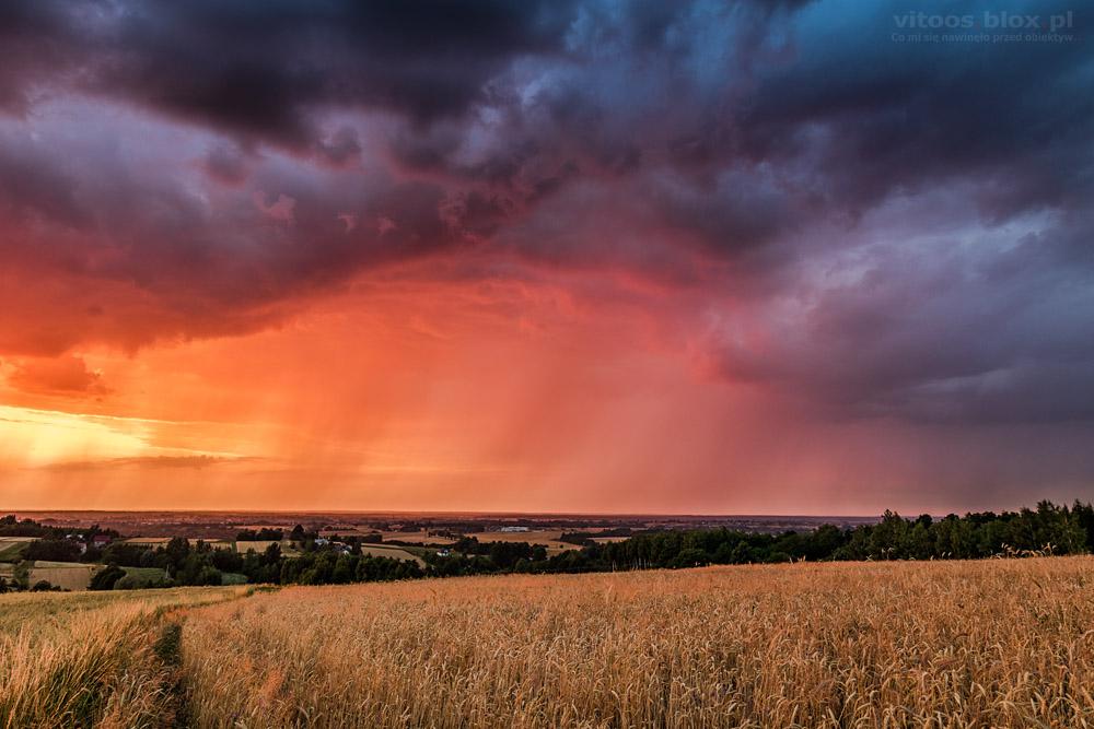 Fot. Witold Ochał, zachód słońca, smugi opadowe, Zagorzyce